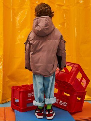 Doudoune à capuche épaisse pour garçon veste hiver avec poches sur les manches