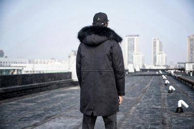 Doudoune longue épaisse à capuche en fourrure amovible pour homme