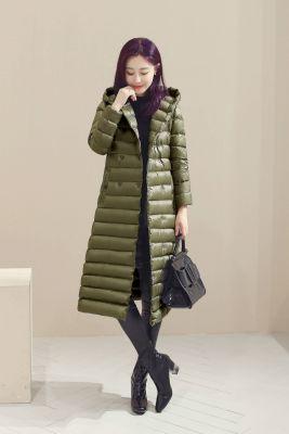 Doudoune longue légère pour femme avec capuche tendance hiver