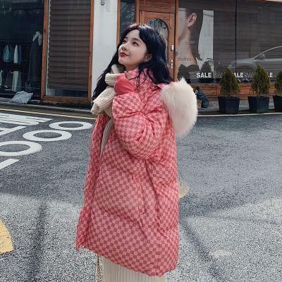 Doudoune oversize à damier pour femme avec capuche fourrure hiver