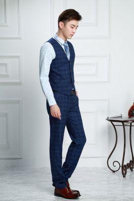 Gilet de costume à carreaux vintage écossais classique pour homme