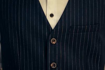 Gilet de Costume à Rayures Homme Pinstripe Rouge Bleu 5 Boutons