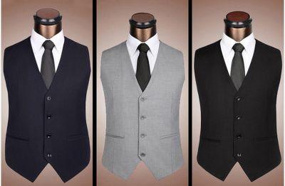 Gilet de Costume Classique Homme 4 Boutons Poches Fendues