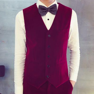Gilet de Costume en Velours Homme Fermeture à 5 Boutons
