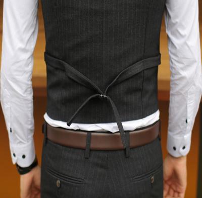 Gilet de costume homme à rayures 3 boutons