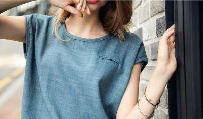 Haut T shirt Large en Lin pour Femme avec Poche Poitrine