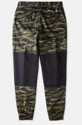 Jogger Pants Militaire Camouflage avec Empiècement Genou Noir