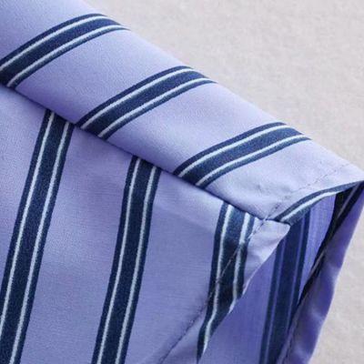 Jupe effet chemise attachée à la taille bleue à rayures pour femme