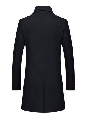 Manteau en laine épaisse pour homme coupe slim avec deux boutons