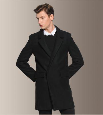 Manteau hiver en laine pour homme avec fermeture à bouton camouflée