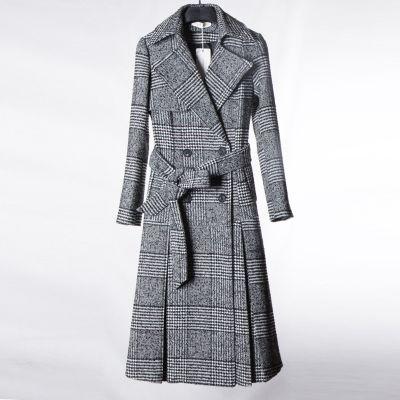 Manteau long à carreaux pour femme avec noeud au dos