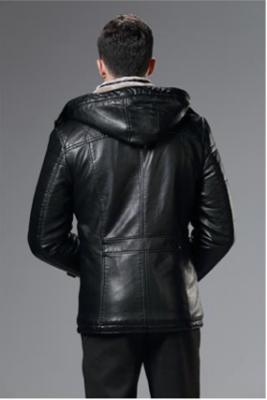 Manteau Long en Cuir Capuche Amovible avec Fourrure Intérieure Homme