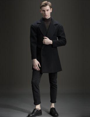 Manteau Long En Laine Noir à Un Bouton Argenté pour Homme
