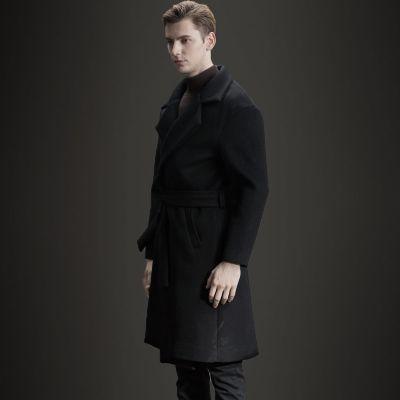 Manteau long kimono en laine pour homme avec fermeture à ceinture