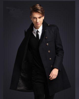Manteau Long Officier pour Homme Coupe Cintré en Laine