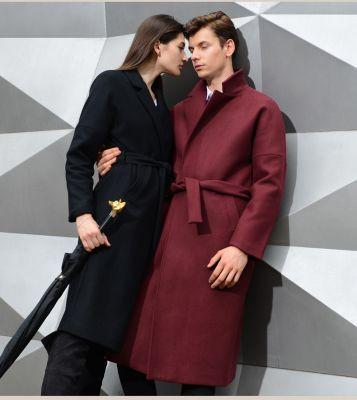 Manteau long pour homme avec fermeture à ceinture en laine