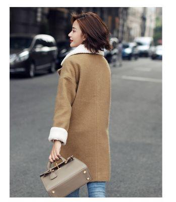 Manteau Mi Long pour Femme Boutonnnage Col Laine Retournée