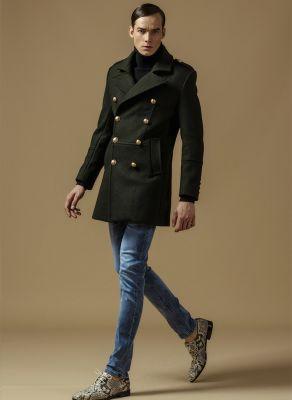 Manteau Double Boutonnage Militaire pour Homme Classique - Laine
