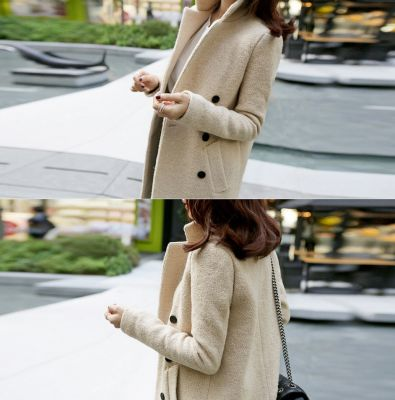 Manteau minimaliste beige effet laine bouillie pour femme col montant