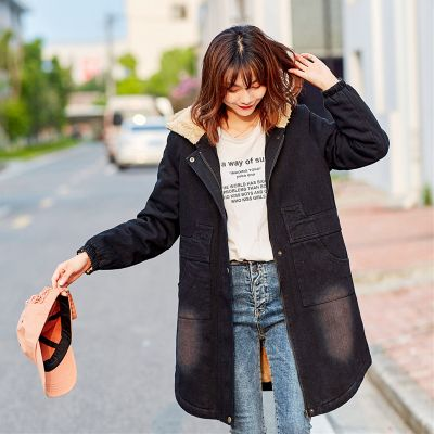 Manteau épais à capuche en denim pour femme
