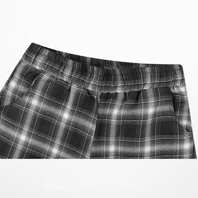 Pantalon large à carreaux écossais pour homme avec taille élastique vintage