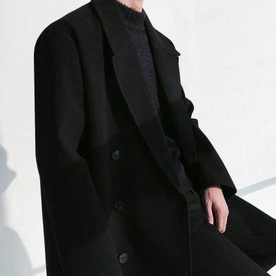 Pardessus long en laine mélangée pour homme