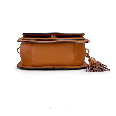 Petit sac besace en cuir avec gland