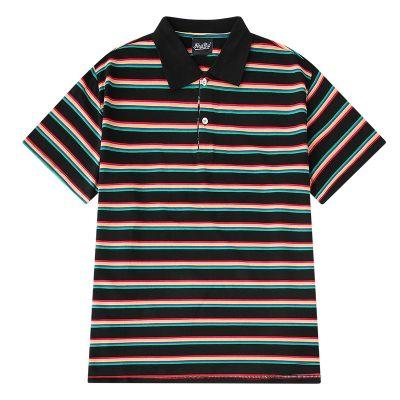 Polo rayé homme style classique revers t-shirt manches courtes coton