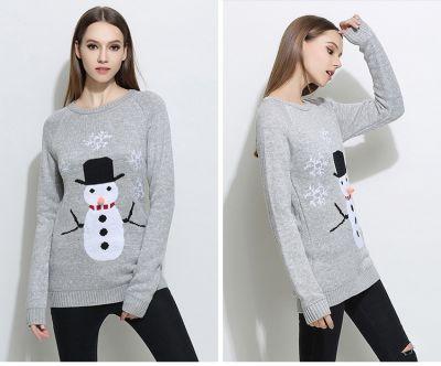 Pullover laine Noël pour femme avec bonhomme de neige