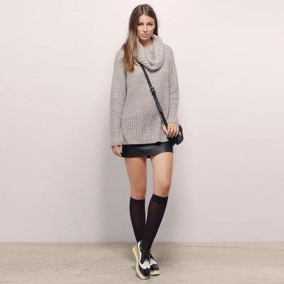 Pullover tricot avec col roulé oversize pour femme