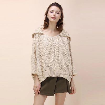 Pullover tricot oversize pour femme avec grand col replié
