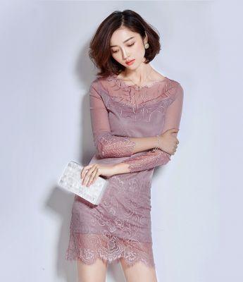 Robe moulante en dentelle manches longues avec doublure intérieure