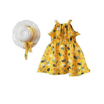 Robe en mousseline pour les filles style bohémien avec chapeau assorti