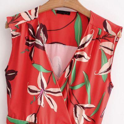 Robe rouge à fleur motif été coloré sans manche col en V pour femme