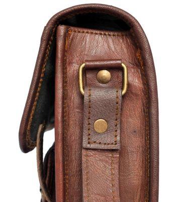 Petit Sac messager vintage avec poche avant homme femme véritable cuir