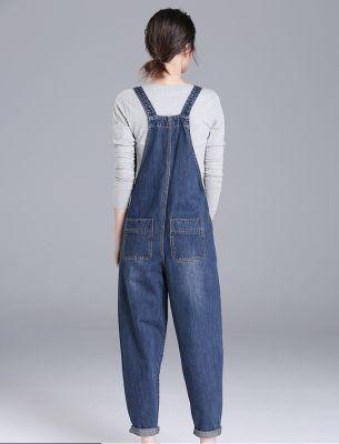 Salopette pour femme en jeans coupe ample