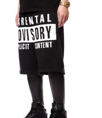 Short Parental Advisory Cotton Hip Hop Streetwear Noir et Blanc