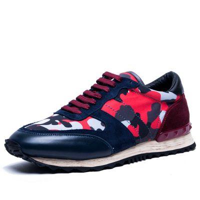 Sneakers Sport Camouflage pour Homme Cuir et Daim