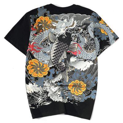 T-shirt carpe tatouage japonais yakuza multicolore