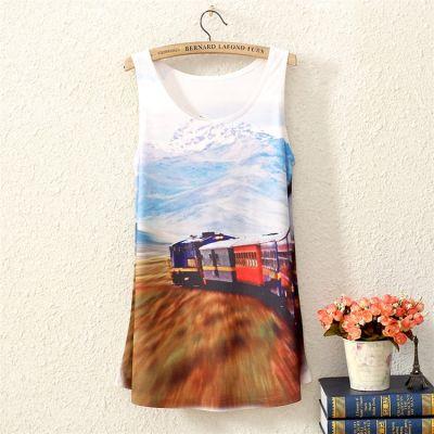 T shirt Sans Manches Fashion pour Femme Train Voyage Paysage