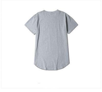 T-shirt long unisexe à manches courtes avec ourlet bas en arc