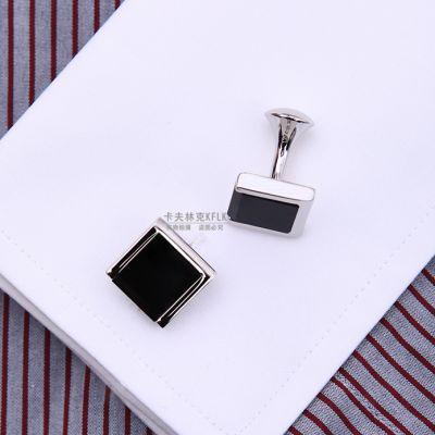 Boutons de manchettes carrés noir avec bords 3 côtés