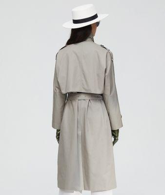 Trenchcoat long à double boutonnage avec ceinture pour femme
