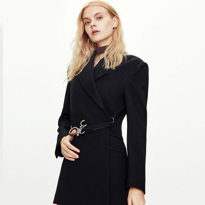 Trench-coat costume rétro avec ceinture pour femme