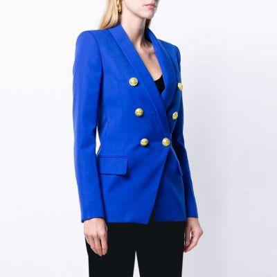 Veste de costume slim couleur unie pour femme.