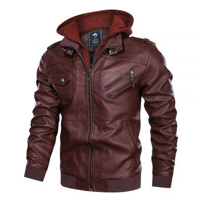 Veste simili cuir à capuche amovible pour homme manches longues