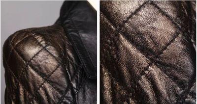 Veste en véritable cuir de mouton pour femmes avec poches et fermetures éclairs