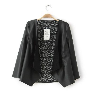 Veste bimatière fashion pour femme manches cuir dos dentelle