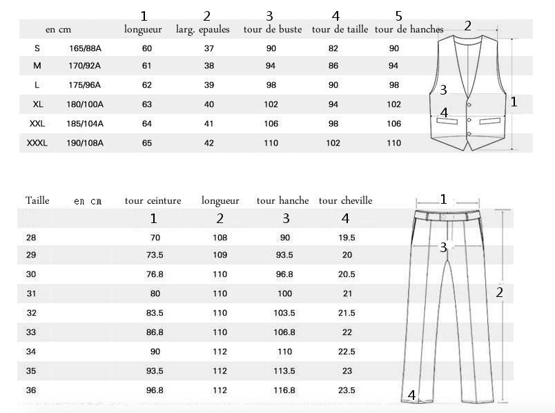 tableau mensurations costume 3 pièces à carreaux écossais homme