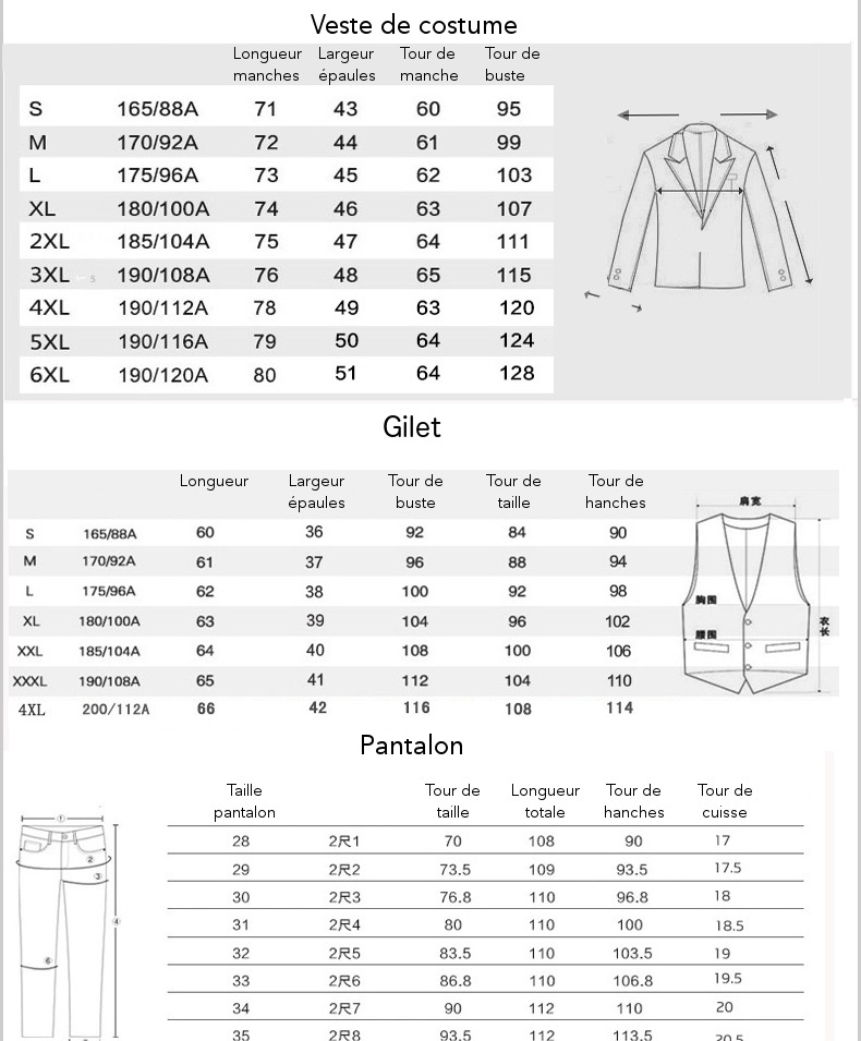 guide des tailles costume urban sapes